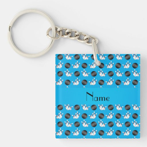 Personalized name sky blue bowling pattern square acrylic key chains
