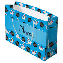 Personalized name sky blue bowling pattern large gift bag