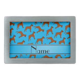 Personalized name sky blue boxer dog pattern belt buckle