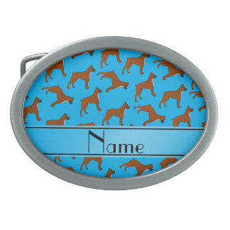 Personalized name sky blue boxer dog pattern belt buckles