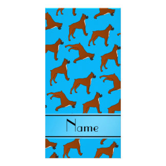 Personalized name sky blue boxer dog pattern photo card
