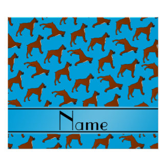 Personalized name sky blue boxer dog pattern poster