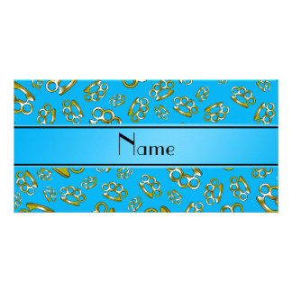 Personalized name sky blue brass knuckles photo card