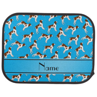 Personalized name sky blue brittany spaniel dogs car mat