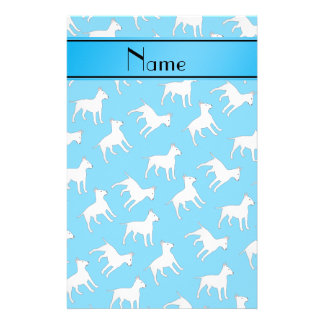 Personalized name sky blue bull terrier dogs stationery