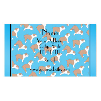 Personalized name sky blue Bulldog Double-Sided Standard Business Cards (Pack Of 100)