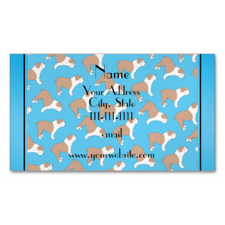 Personalized name sky blue Bulldog Magnetic Business Cards (Pack Of 25)