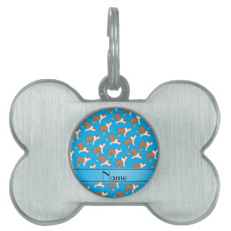 Personalized name sky blue Bulldog Pet Name Tag
