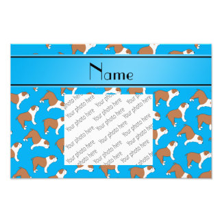 Personalized name sky blue Bulldog Photo Print