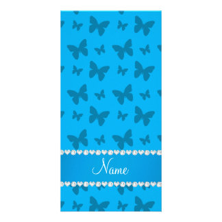 Personalized name sky blue butterflies photo card