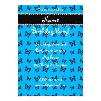 Personalized name sky blue butterfly pattern card