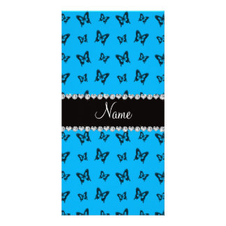 Personalized name sky blue butterfly pattern photo card