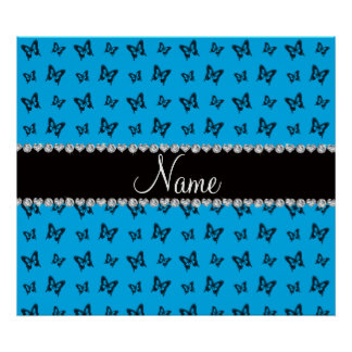Personalized name sky blue butterfly pattern posters