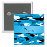 Personalized name sky blue camouflage pinback button