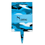 Personalized name sky blue camouflage cake picks