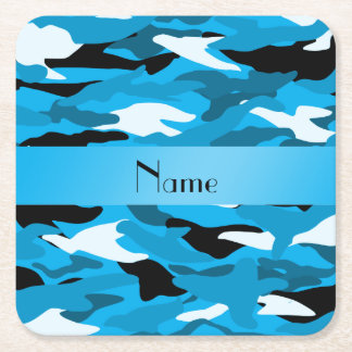 Personalized name sky blue camouflage square paper coaster