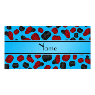 Personalized name sky blue checkers game photo card