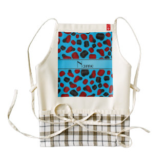 Personalized name sky blue checkers game zazzle HEART apron