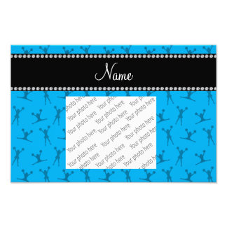 Personalized name sky blue cheerleader pattern photo print