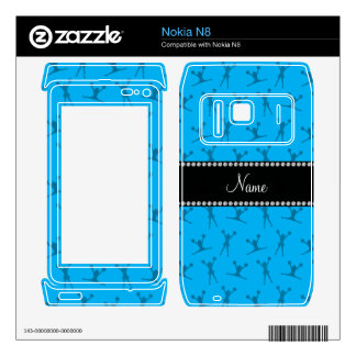 Personalized name sky blue cheerleader pattern decal for the nokia n8
