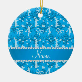 Personalized name sky blue cheerleading damask ceramic ornament