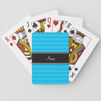 Personalized name sky blue chevrons playing cards