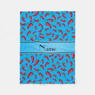 Personalized name sky blue chili pepper fleece blanket