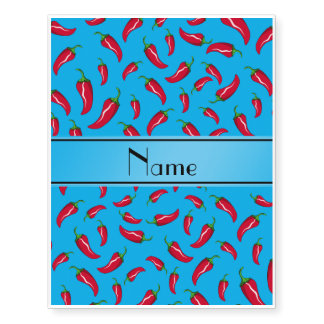 Personalized name sky blue chili pepper temporary tattoos