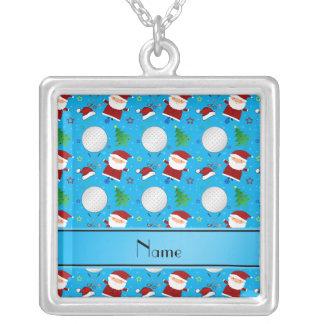 Personalized name sky blue christmas golfing pendants