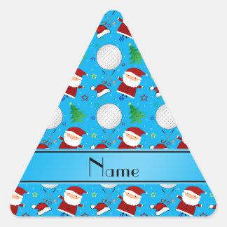 Personalized name sky blue christmas golfing triangle sticker