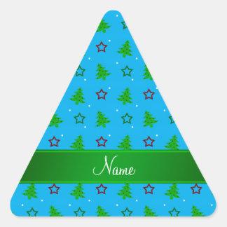 Personalized name sky blue christmas stars triangle sticker