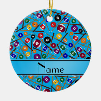 Personalized name sky blue colorful pool pattern ceramic ornament