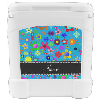 Personalized name sky blue colorful retro flowers igloo roller cooler