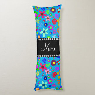 Personalized name sky blue colorful retro flowers body pillow