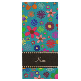 Personalized name sky blue colorful retro flowers wood USB 2.0 flash drive