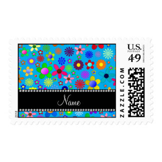 Personalized name sky blue colorful retro flowers postage