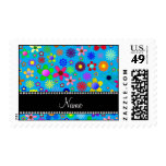 Personalized name sky blue colorful retro flowers stamps