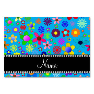 Personalized name sky blue colorful retro flowers table cards