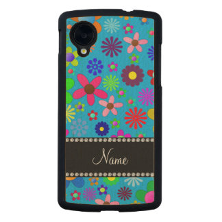 Personalized name sky blue colorful retro flowers carved® maple nexus 5 slim case