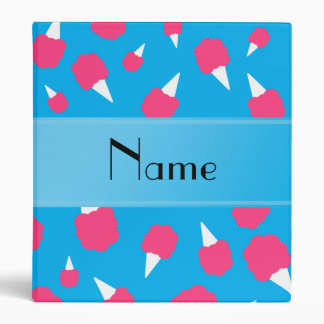 Personalized name sky blue cotton candy 3 ring binder
