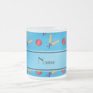 Personalized name sky blue cricket pattern 10 oz frosted glass coffee mug