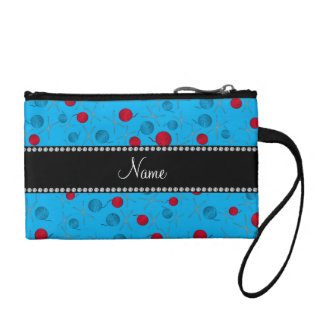 Personalized name sky blue crochet pattern coin wallets