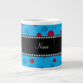 Personalized name sky blue crochet pattern 20 oz large ceramic coffee mug