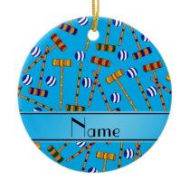 Personalized name sky blue croquet pattern ceramic ornament
