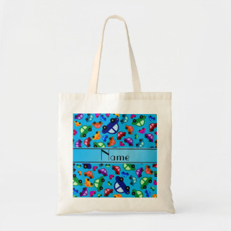Personalized name sky blue cute car pattern canvas bags