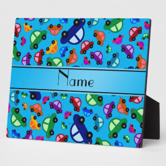 Personalized name sky blue cute car pattern display plaques