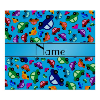 Personalized name sky blue cute car pattern poster