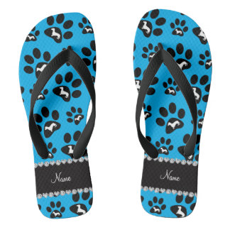 Personalized name sky blue dachshunds dog paws flip flops