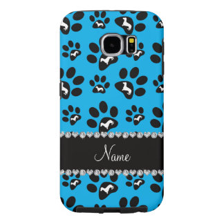 Personalized name sky blue dachshunds dog paws samsung galaxy s6 case