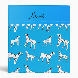 Personalized name sky blue dalmatian dogs vinyl binder